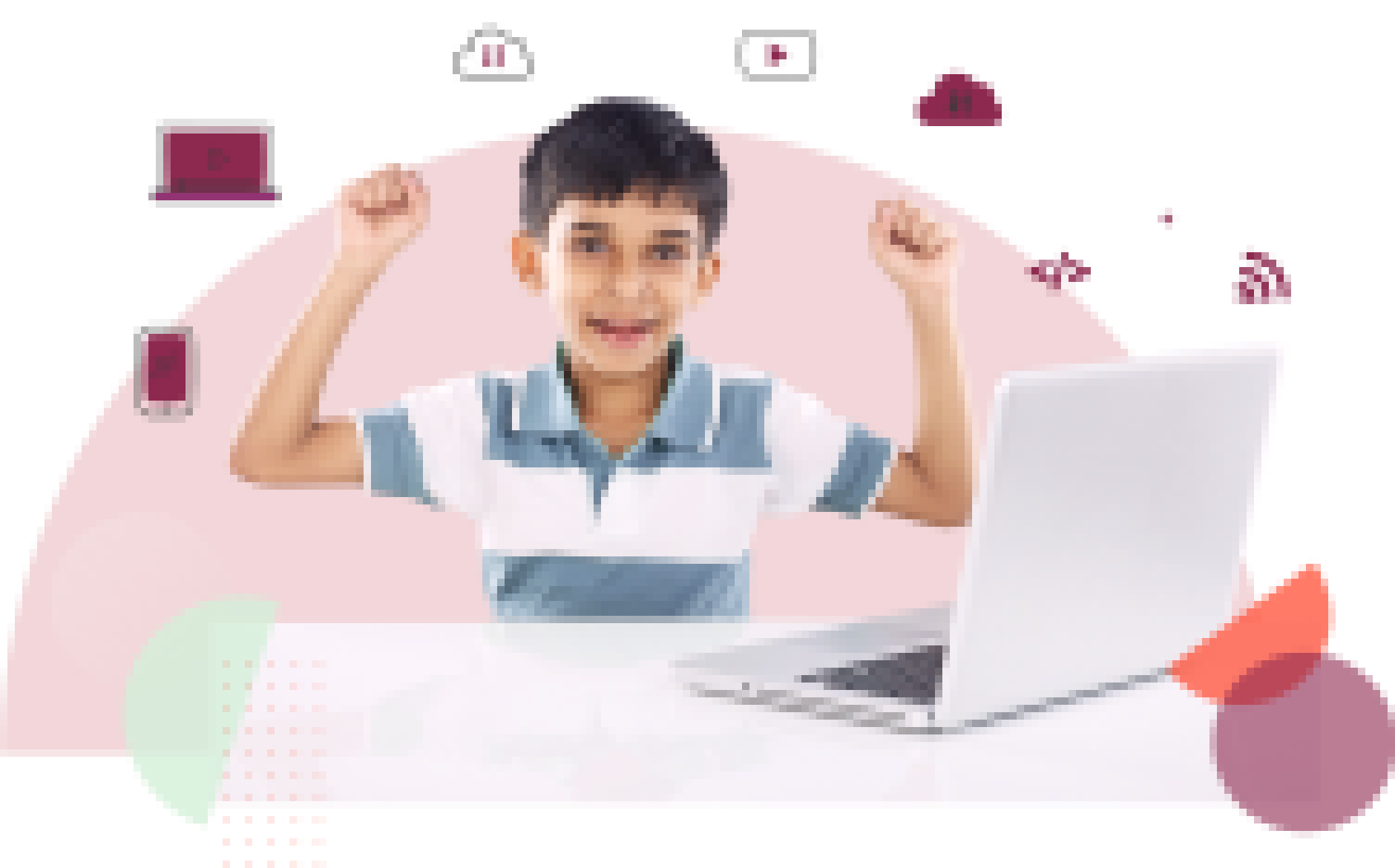 Boy working on laptop