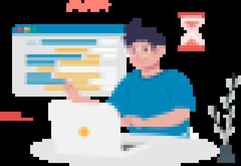 A boy using computer